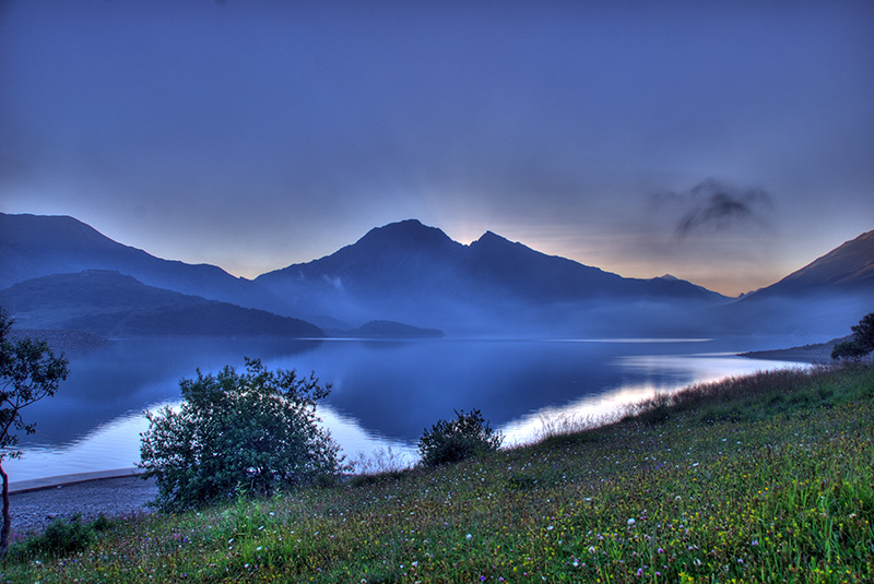 Mont Cenis lake at dusk