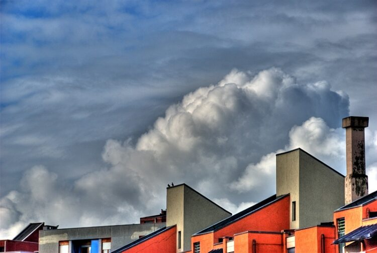Clouds and rooftops
