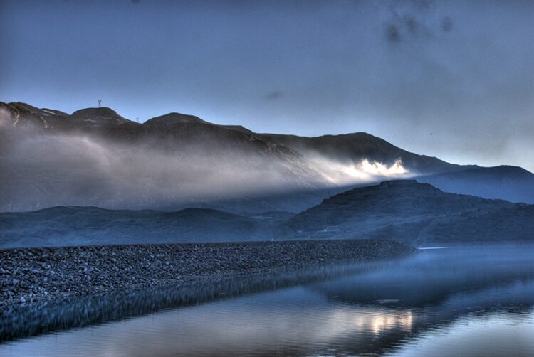 Mont Cenis lake in the evening