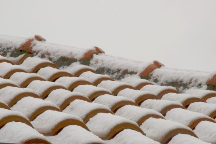 Roof tiles and snow