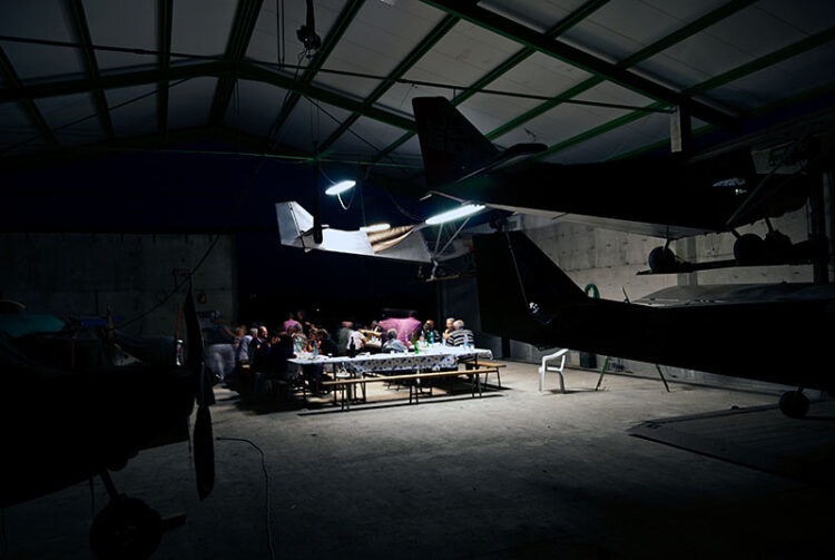 Surreal dinner with aircrafts